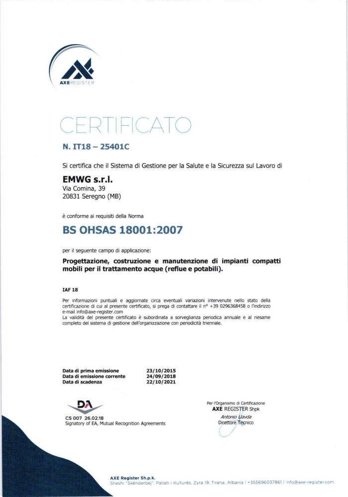 Certificato Sistema Gestione Sicurezza BS OHSAS 18001:2007